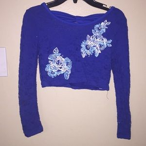girls long sleeve crop top